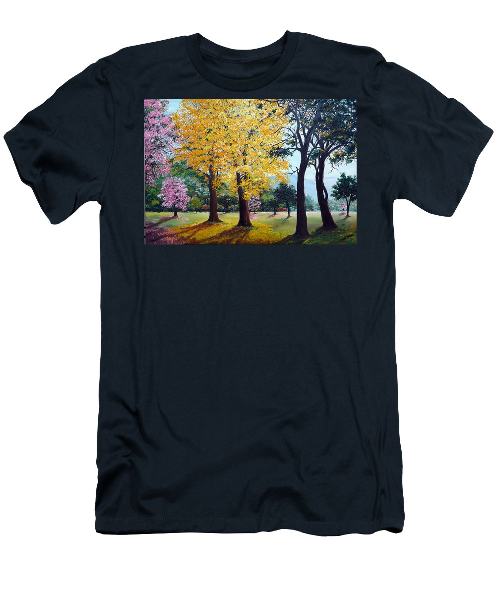 Tree Painting Landscape Painting Caribbean Painting Poui Tree Yellow Blossoms Trinidad Queens Park Savannah Port Of Spain Trinidad And Tobago Painting Savannah Tropical Painting Men's T-Shirt (Athletic Fit) featuring the painting Poui Trees In The Savannah by Karin Dawn Kelshall- Best