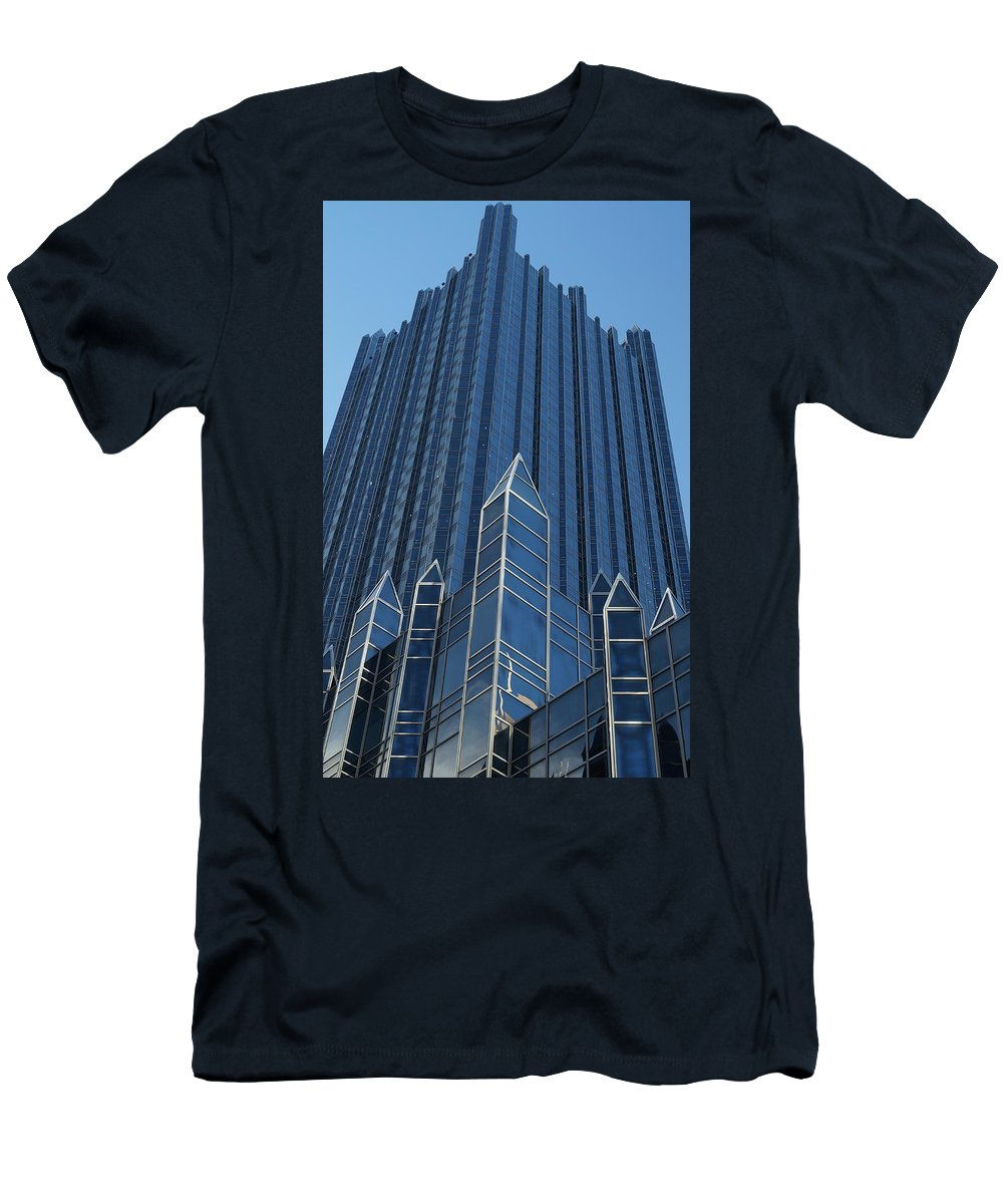 Ppg Place Men's T-Shirt (Athletic Fit) featuring the photograph Ppg Place Pittsburgh by Andrea Rea