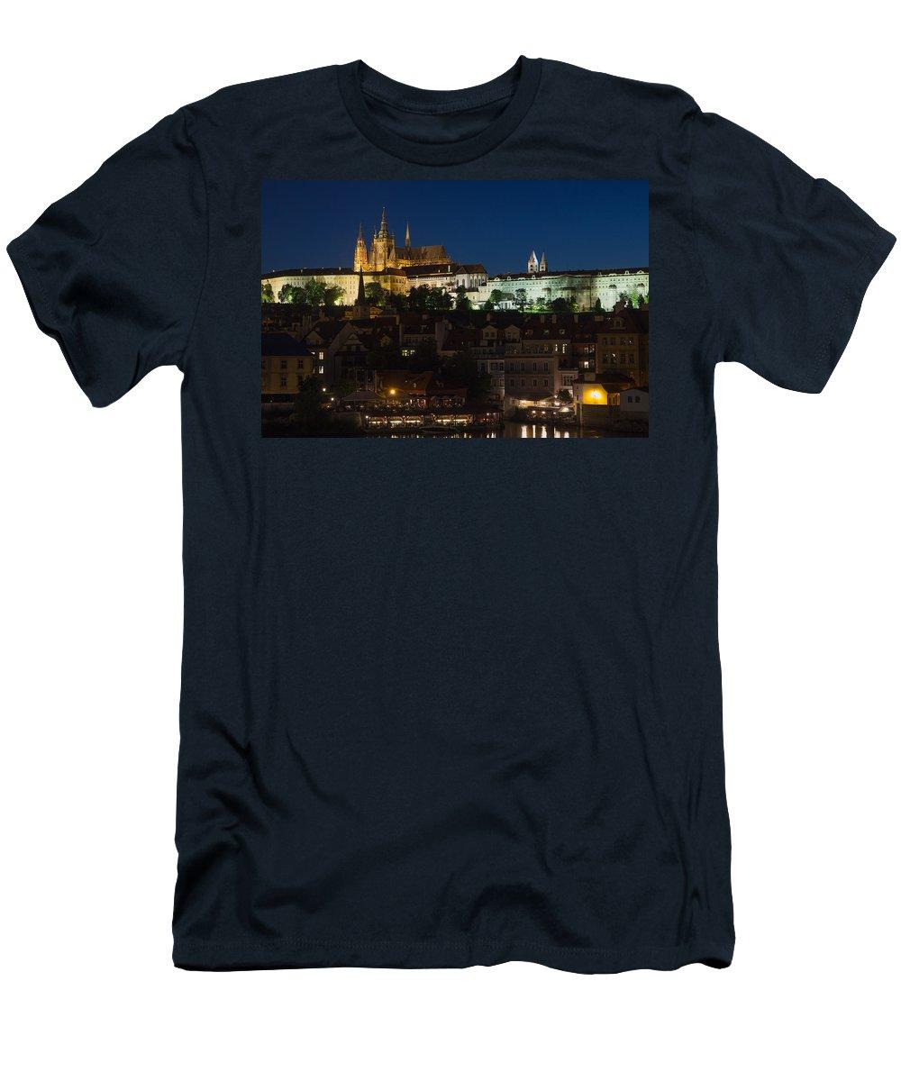Prague Men's T-Shirt (Athletic Fit) featuring the photograph Prague Castle At Night by Jaroslav Frank