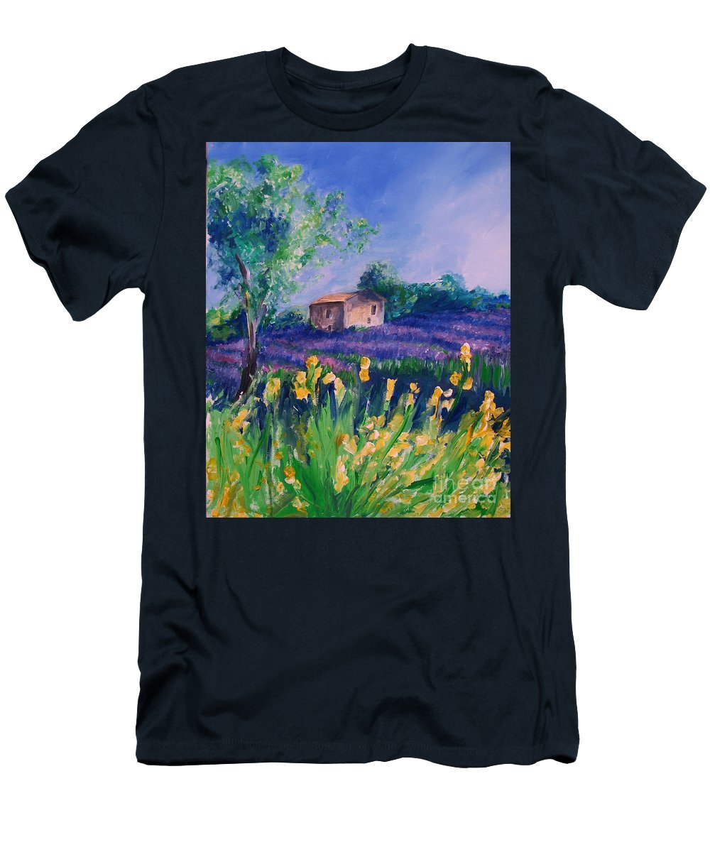 Floral Men's T-Shirt (Athletic Fit) featuring the digital art Provence Yellow Flowers by Eric Schiabor