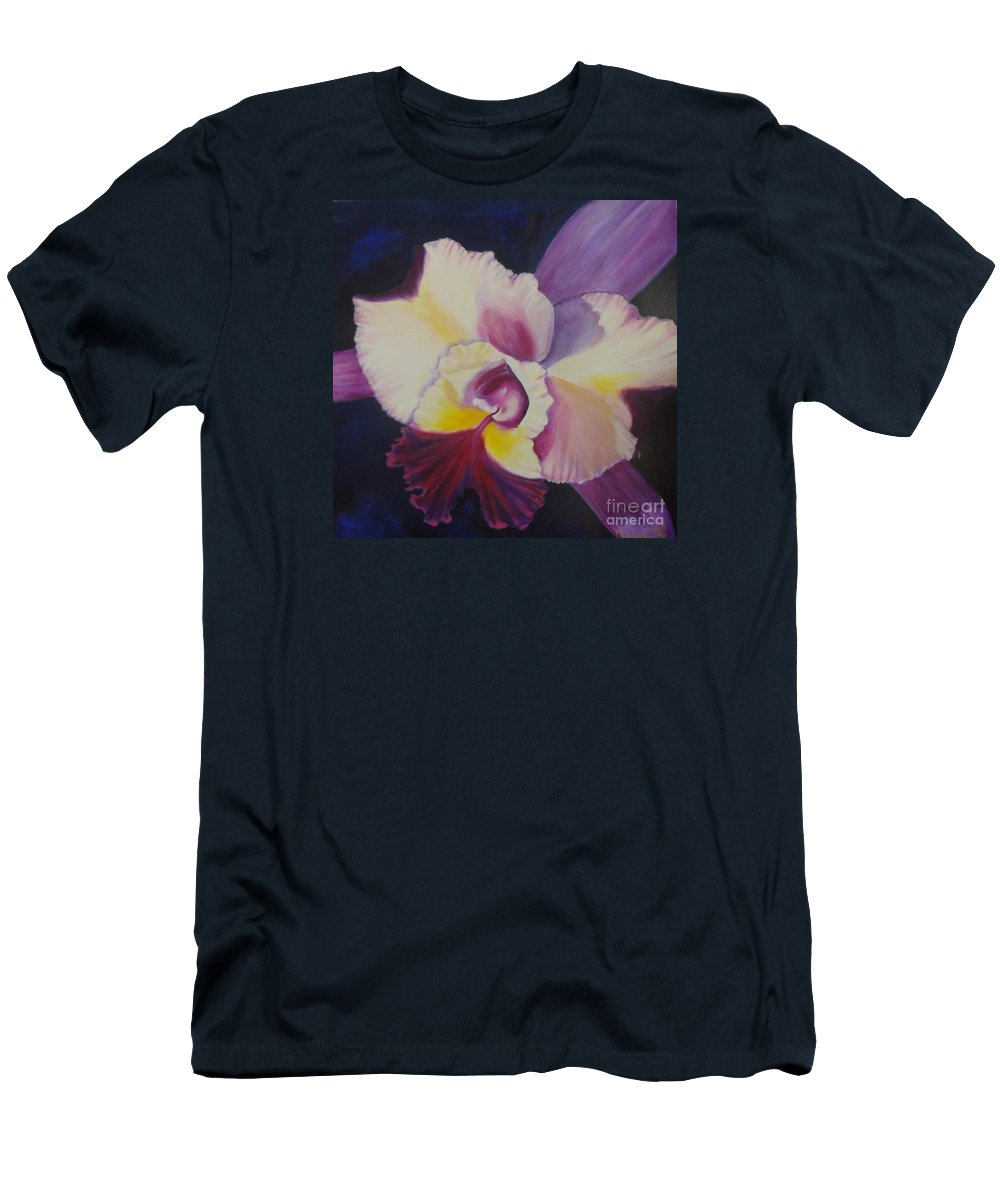 Hybrid Orchid Men's T-Shirt (Athletic Fit) featuring the painting Purple Orchid by Jenny Lee