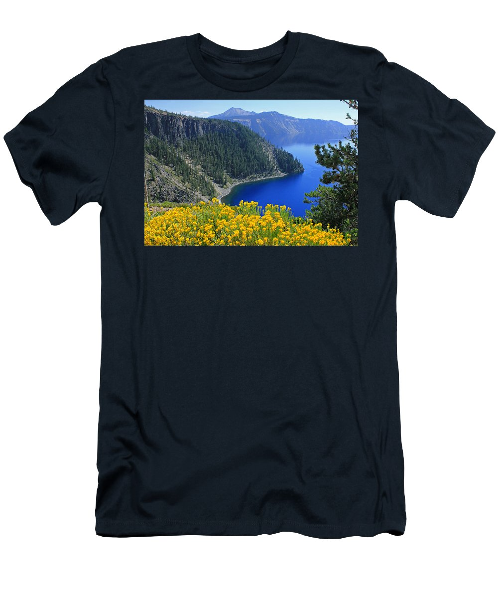 Rabbit Brush Men's T-Shirt (Athletic Fit) featuring the photograph D2m5622-rabbit Brush At Crater Lake by Ed Cooper Photography