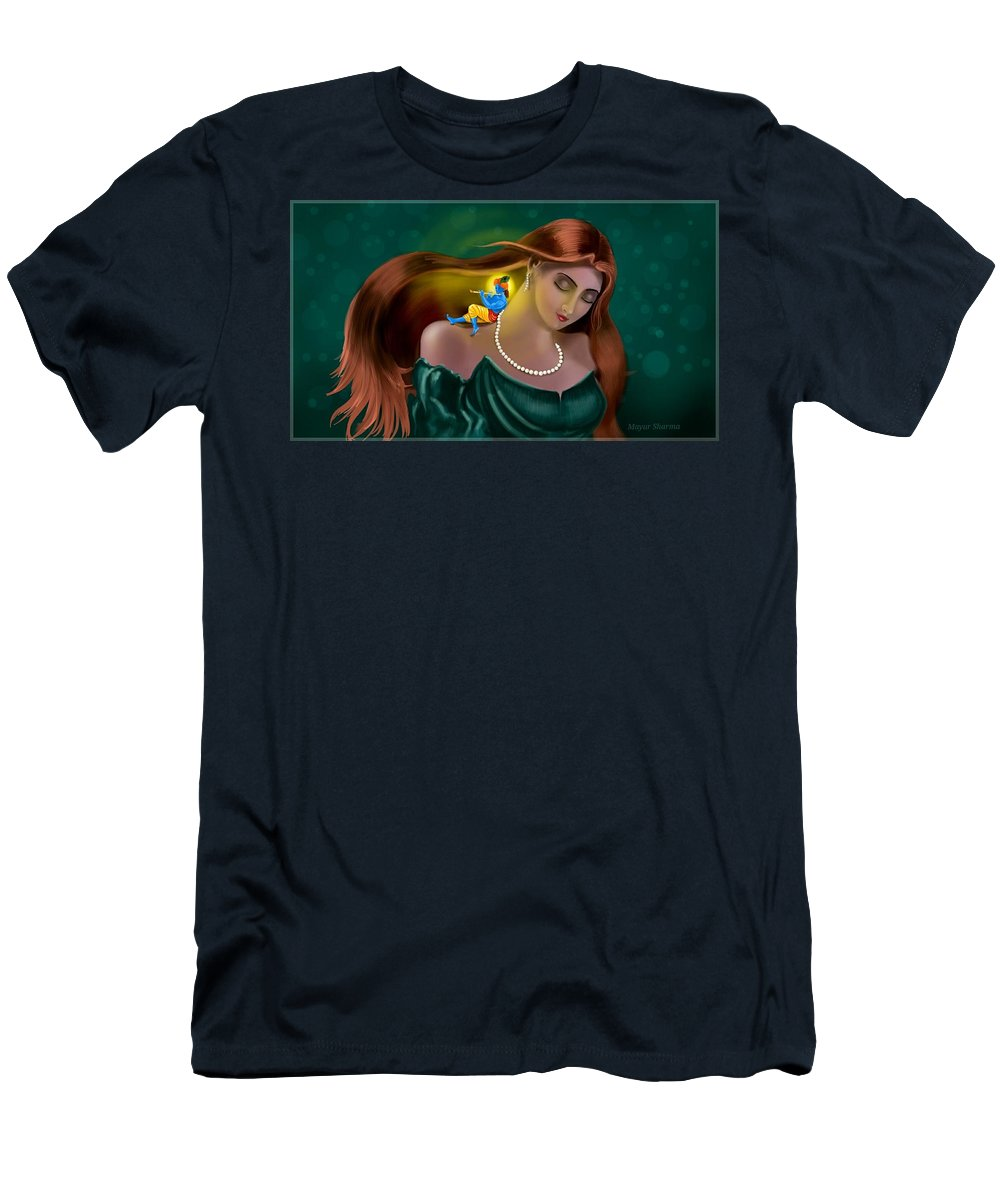 Girl Men's T-Shirt (Athletic Fit) featuring the painting Radha Krishna Fusion by Mayur Sharma