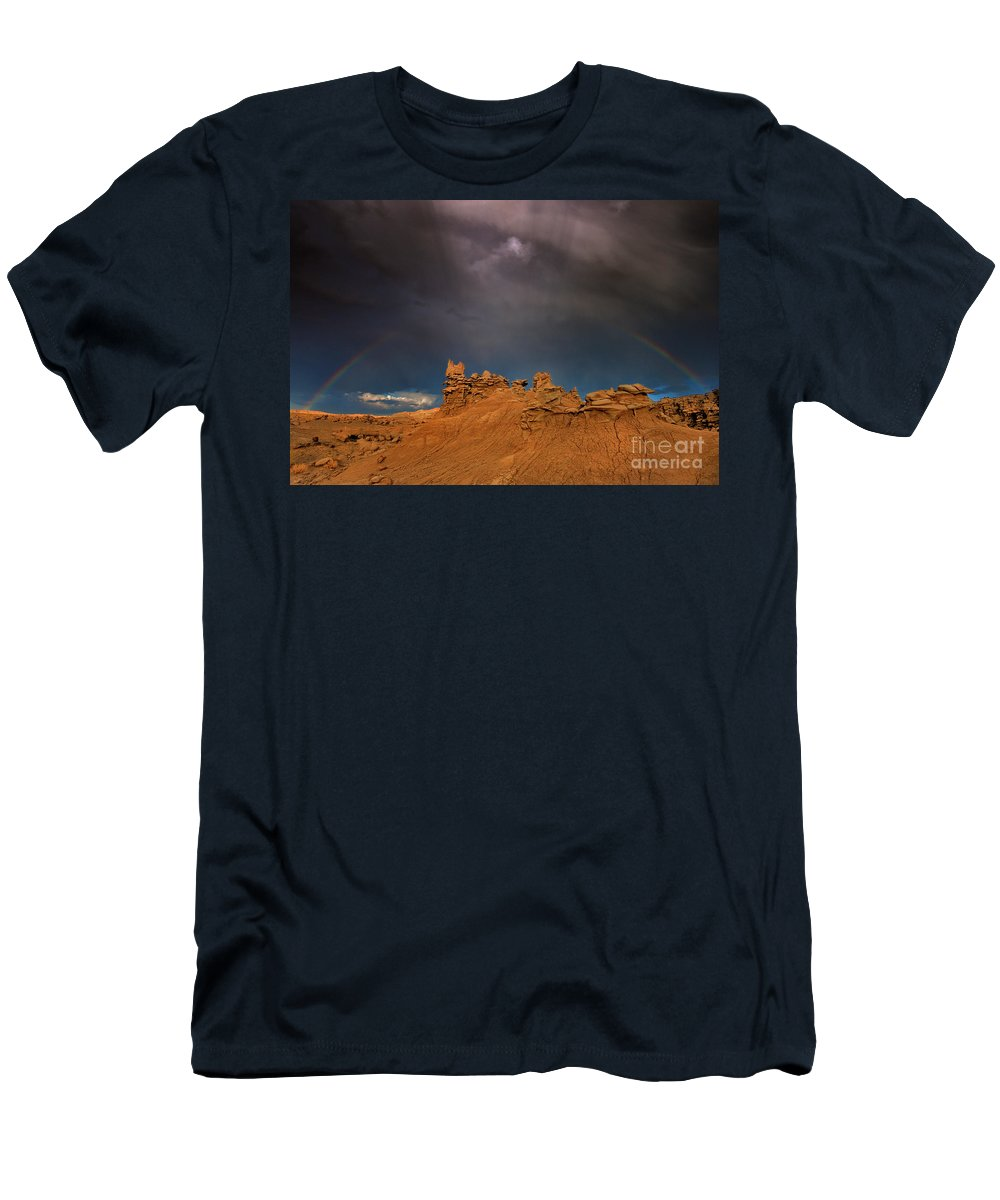North America Men's T-Shirt (Athletic Fit) featuring the photograph Rainbow And Sandstone Formations Fantasy Canyon Utah by Dave Welling