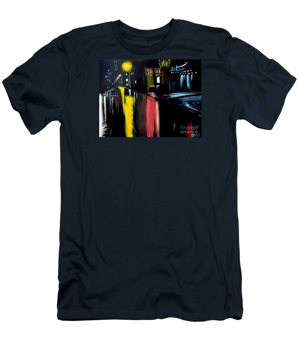 Raining Men's T-Shirt (Athletic Fit) featuring the painting Raining Night In The City by Christopher Shellhammer