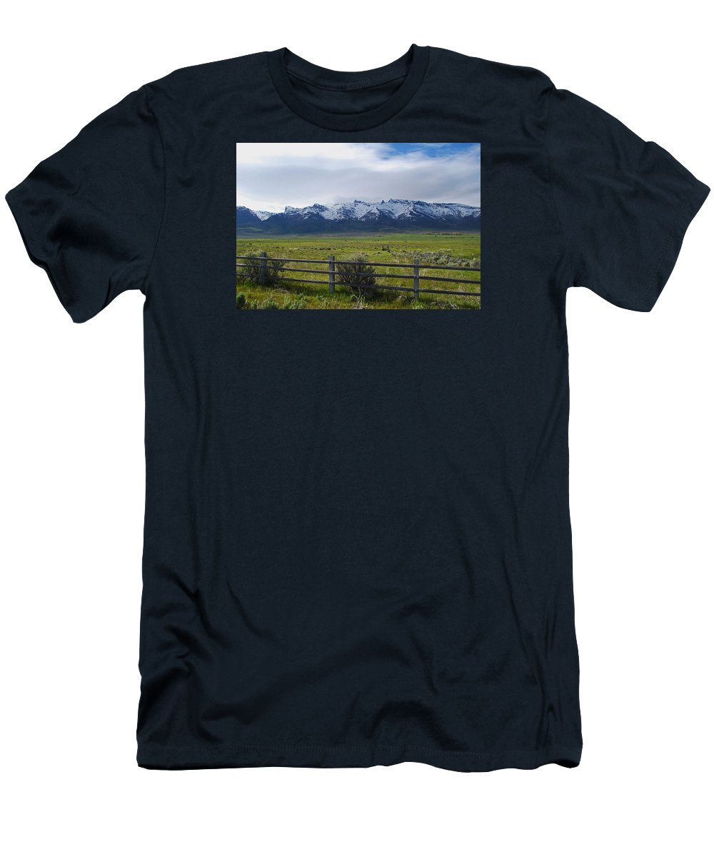 Ranch Men's T-Shirt (Athletic Fit) featuring the photograph Ranch Beneath The Rubies by Mike and Sharon Mathews