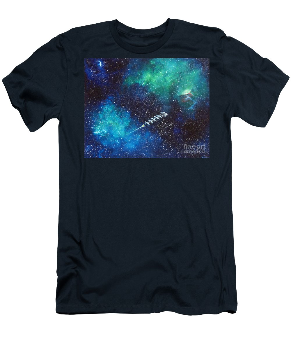 Spacescape Men's T-Shirt (Athletic Fit) featuring the painting Reaching Out by Murphy Elliott