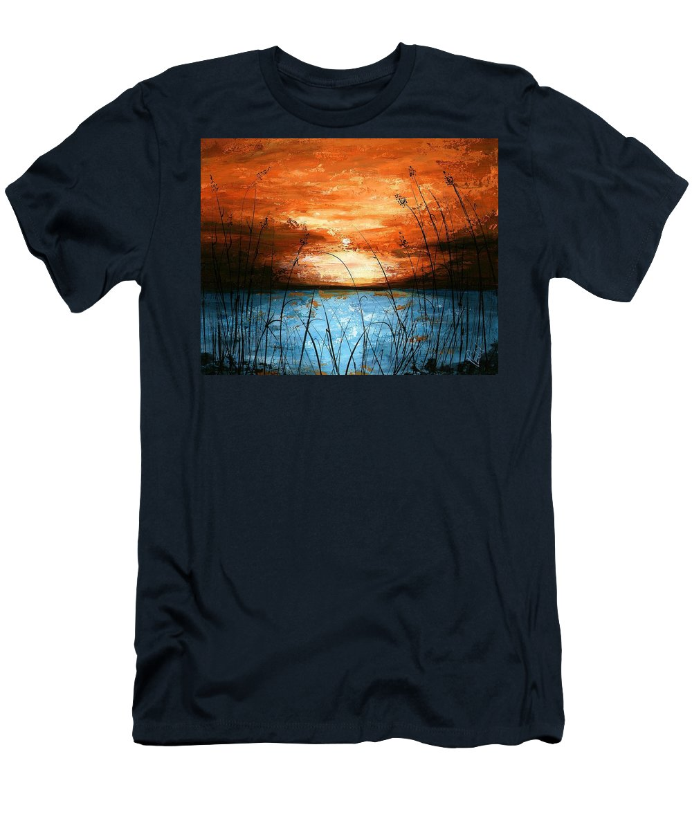 Red Men's T-Shirt (Athletic Fit) featuring the painting Red Sunset by Edit Voros