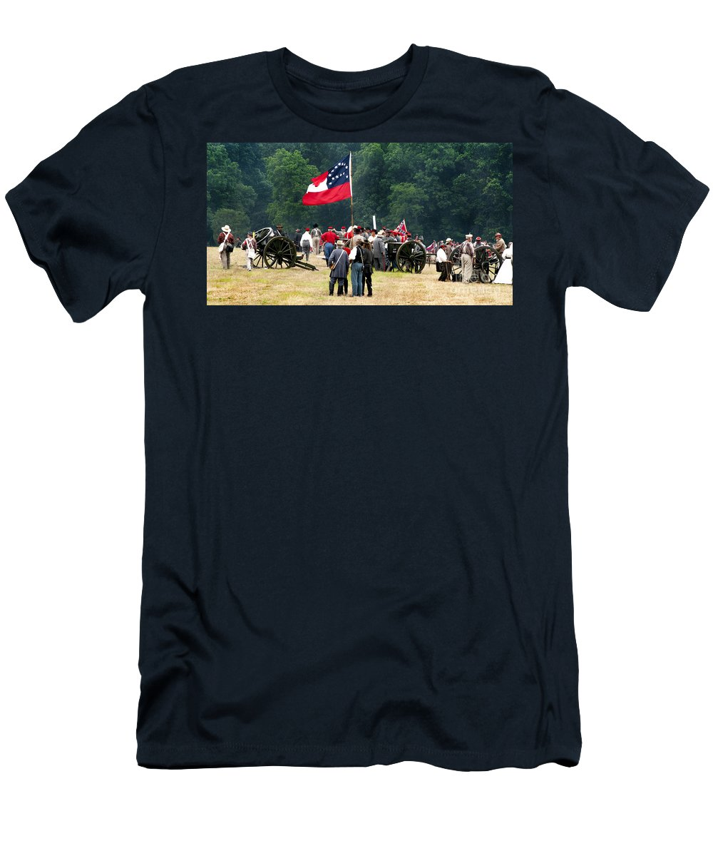 Reenactment Men's T-Shirt (Athletic Fit) featuring the photograph Reenactment - 566 by Paul W Faust - Impressions of Light