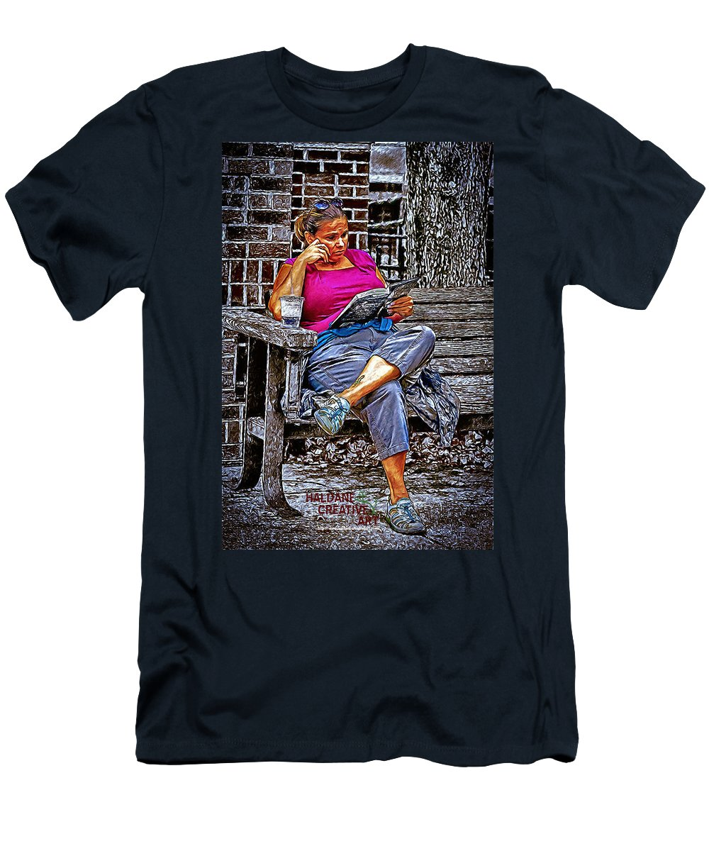 Girl Men's T-Shirt (Athletic Fit) featuring the mixed media Rhythmic Reading by John Haldane