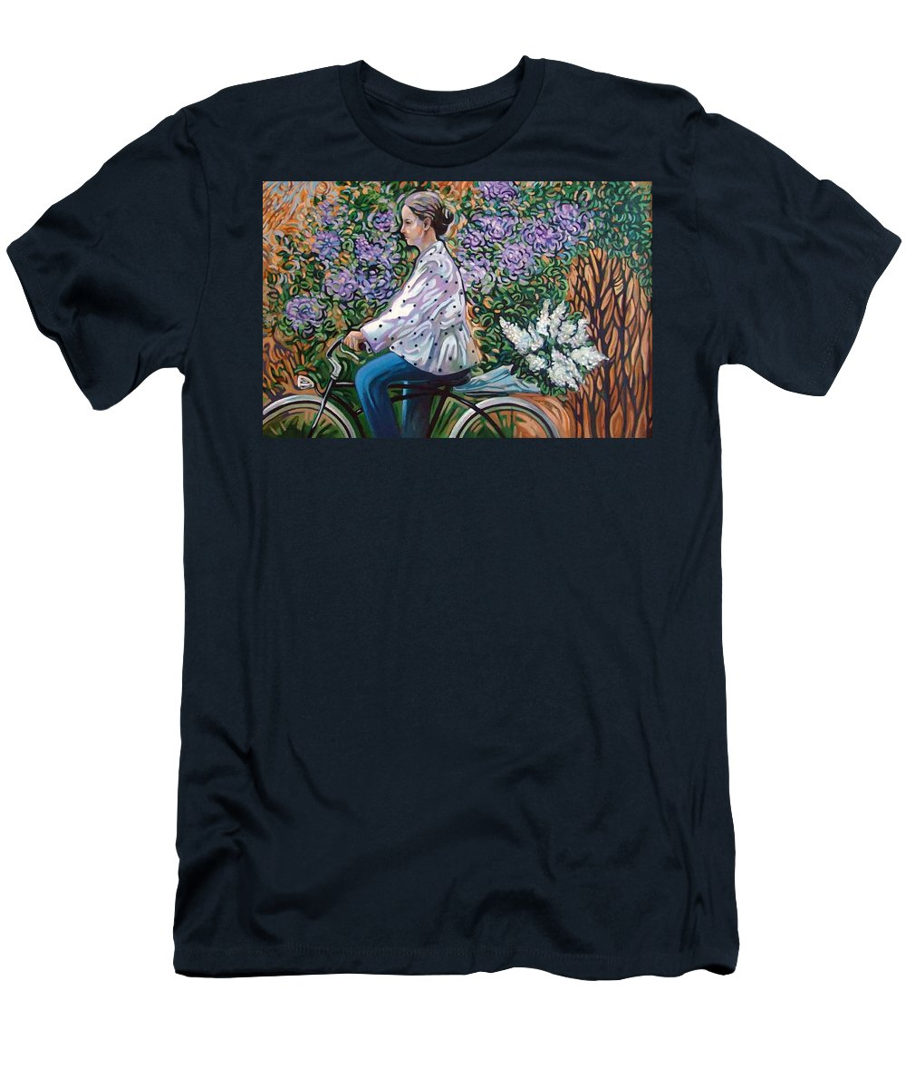Bycicle Men's T-Shirt (Athletic Fit) featuring the painting Riding Bycicle For Lilac by Rita Pranca
