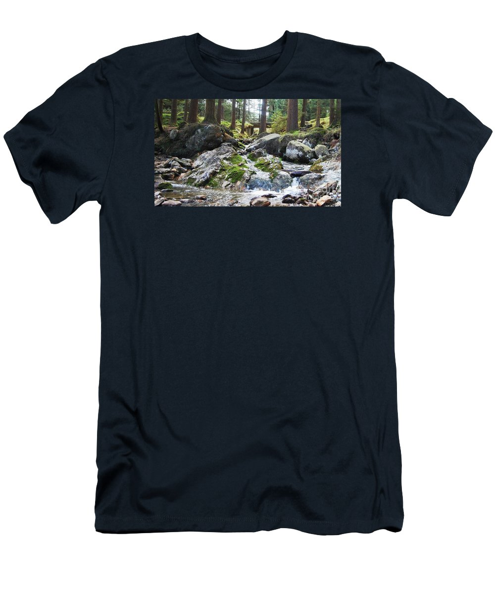 Ireland Art River Woodland Outdoors Rocks Travel Stock Shot Rural Wicklow Countryside Sylvan Setting Men's T-Shirt (Athletic Fit) featuring the photograph A River Scene In Wicklow, Ireland by Courtney Dagan
