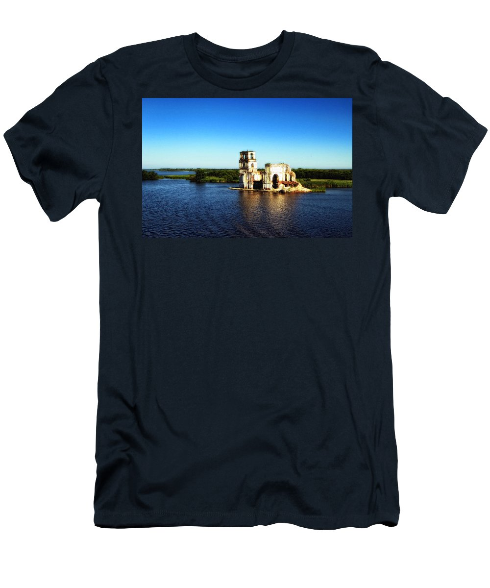 St. Basils Cathedral Men's T-Shirt (Athletic Fit) featuring the photograph River Ruins by Linda Dunn