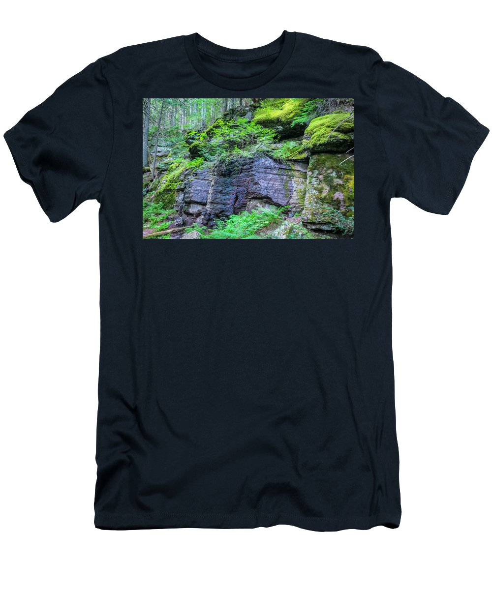 Glacier National Park Men's T-Shirt (Athletic Fit) featuring the photograph Rock Wall Trail Of The Cedars Glacier National Park Painted by Rich Franco