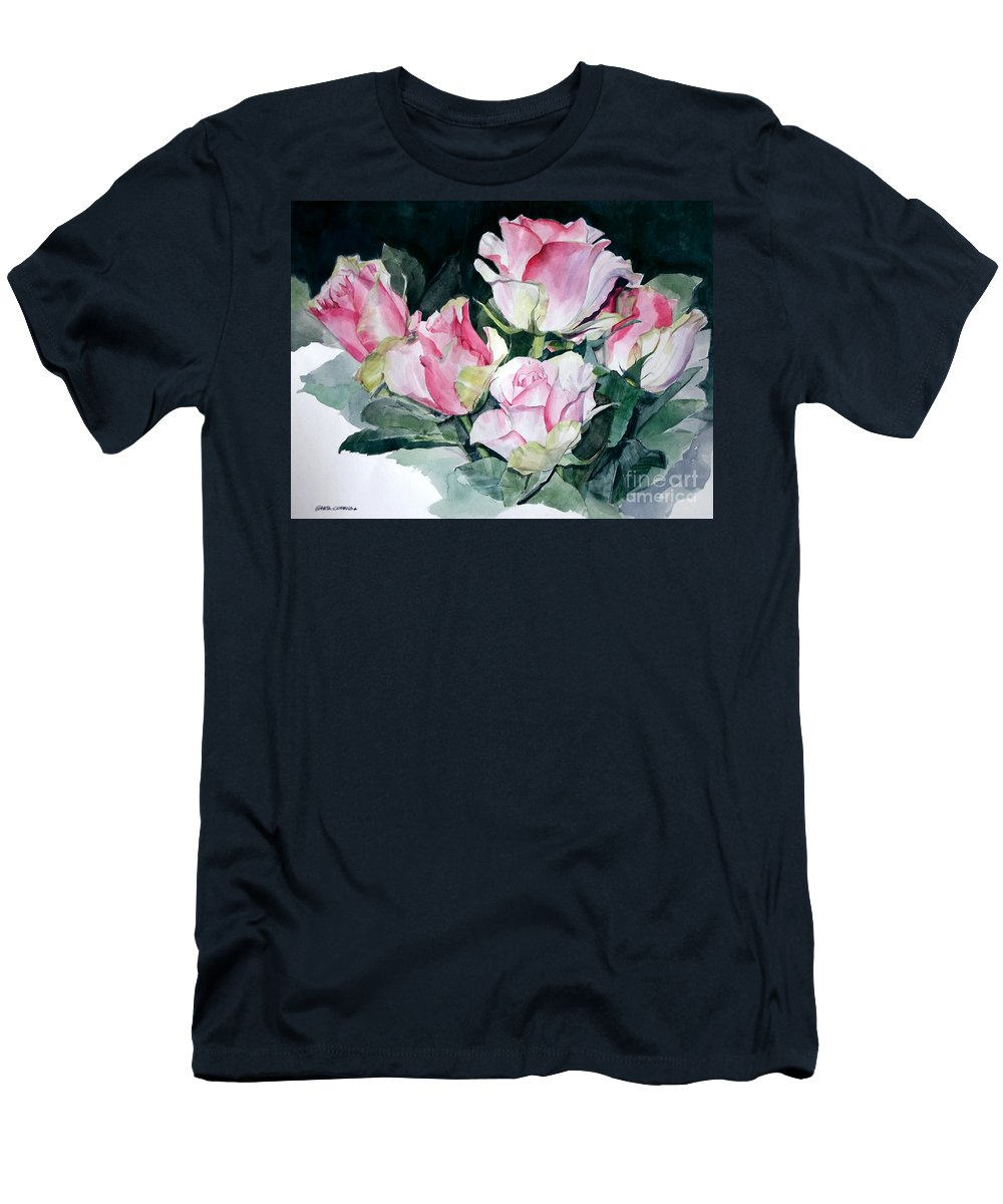Watercolor Men's T-Shirt (Athletic Fit) featuring the painting Watercolor Of A Pink Rose Bouquet Celebrating Ezio Pinza by Greta Corens