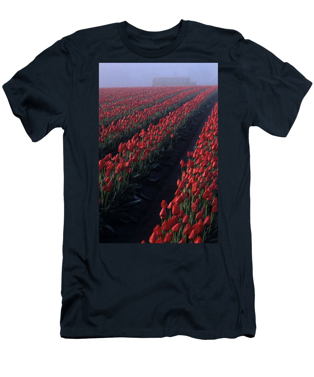 Travel Men's T-Shirt (Athletic Fit) featuring the photograph Rows Of Red Tulips by Jim Corwin