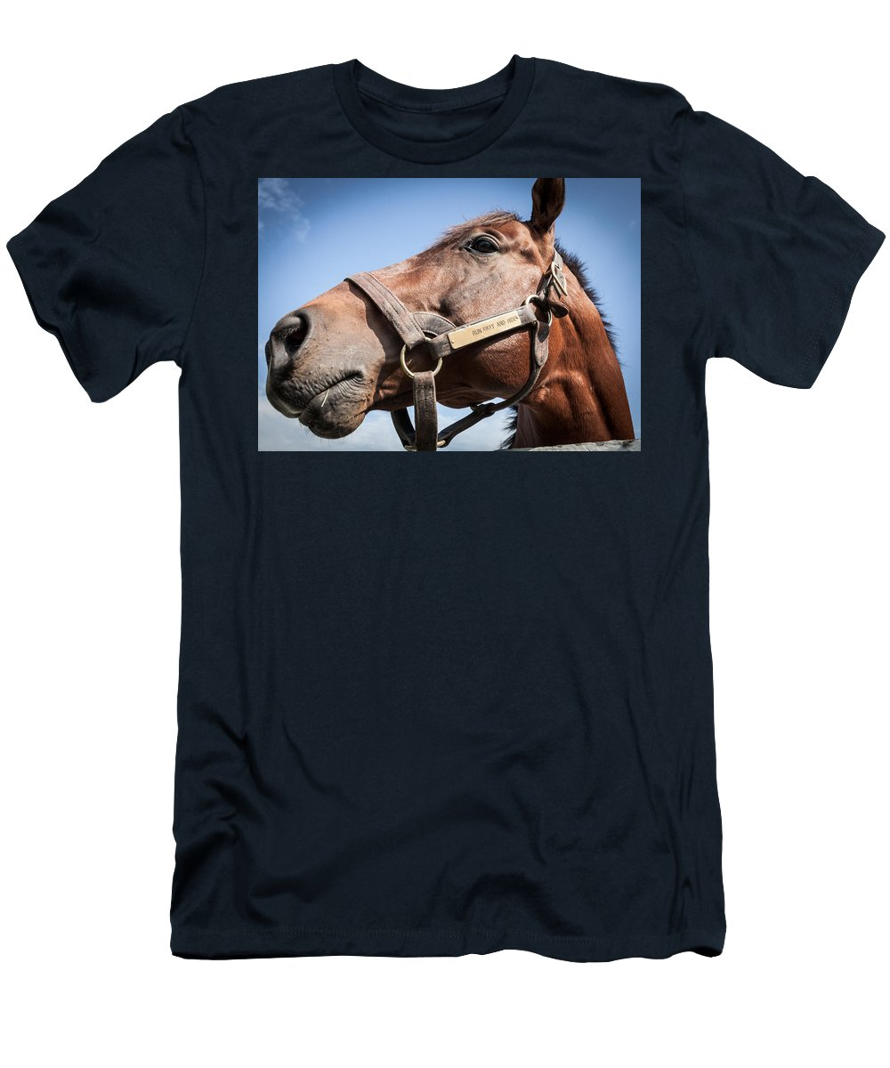 Horse Men's T-Shirt (Athletic Fit) featuring the photograph Run Away And Hide by Alexey Stiop