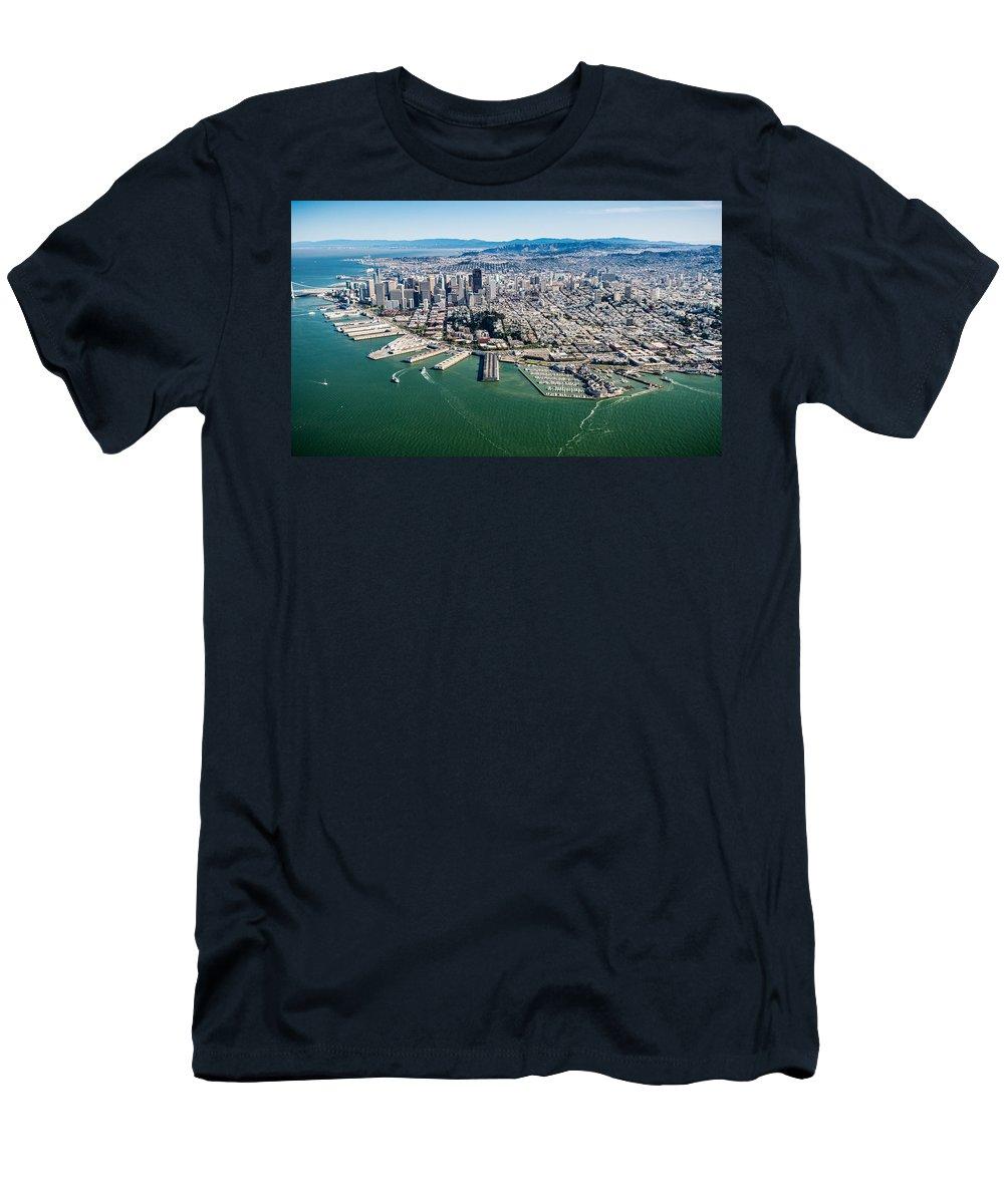 San Men's T-Shirt (Athletic Fit) featuring the photograph San Francisco Bay Piers Aloft by Steve Gadomski