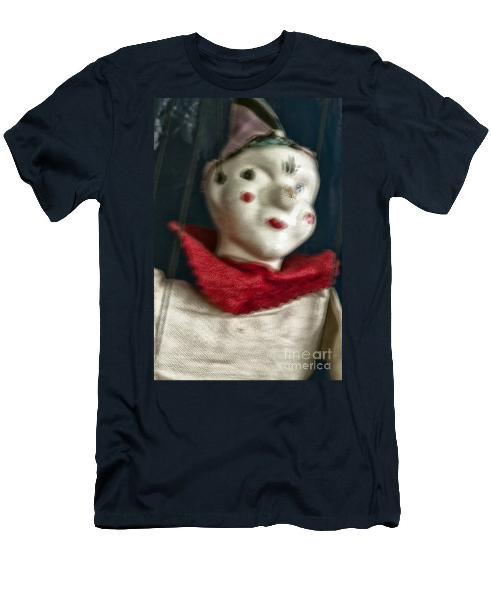 Marionette; Toy; Clown; Strings; Scary; Spooky; Blur; Blurry; Blurred; Out Of Focus; Looking Away; Old; Vintage; Broken; Cracked; Evil; Play; Puppet; Horror; Hat; Painted Face; Face; Paint; Red; Collar; Antique; Creepy; Doll Men's T-Shirt (Athletic Fit) featuring the photograph Scary Mary by Margie Hurwich