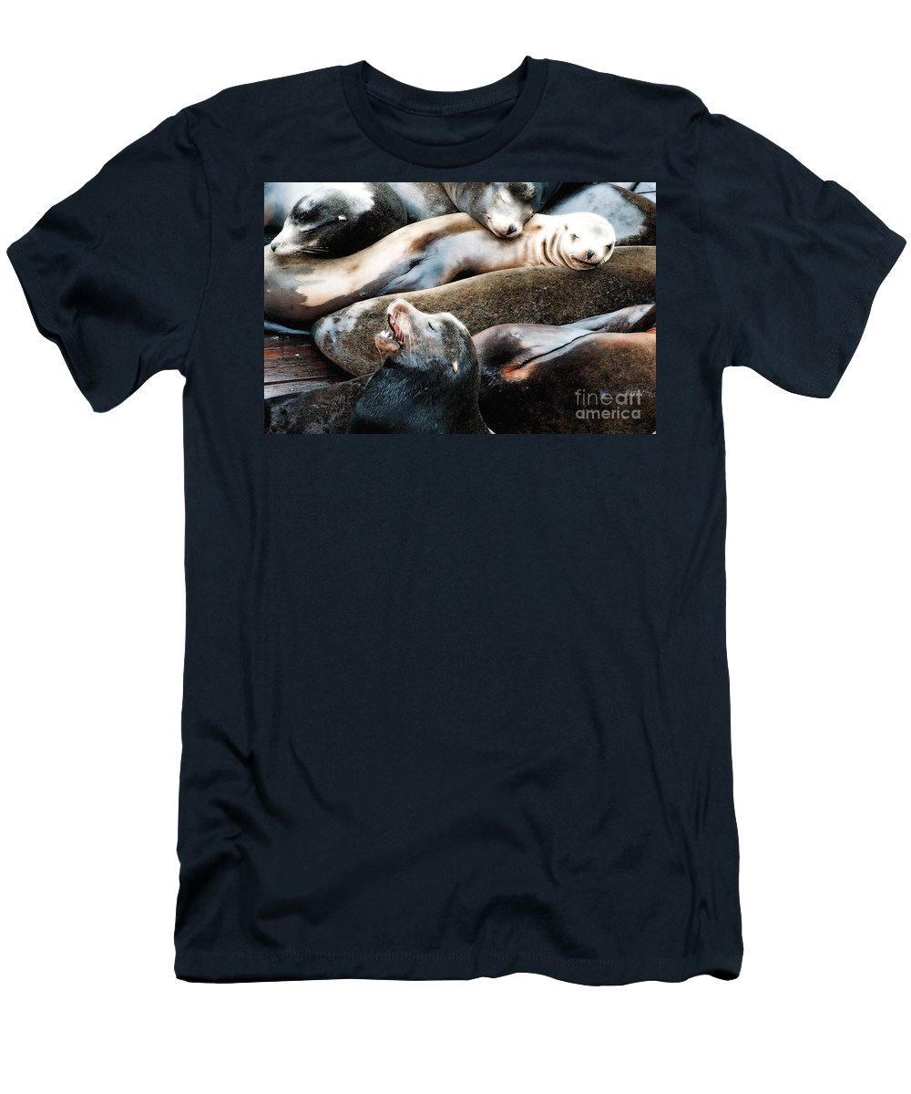 Sea Lion Men's T-Shirt (Athletic Fit) featuring the photograph Sea Lion Dreams by Gwyn Newcombe