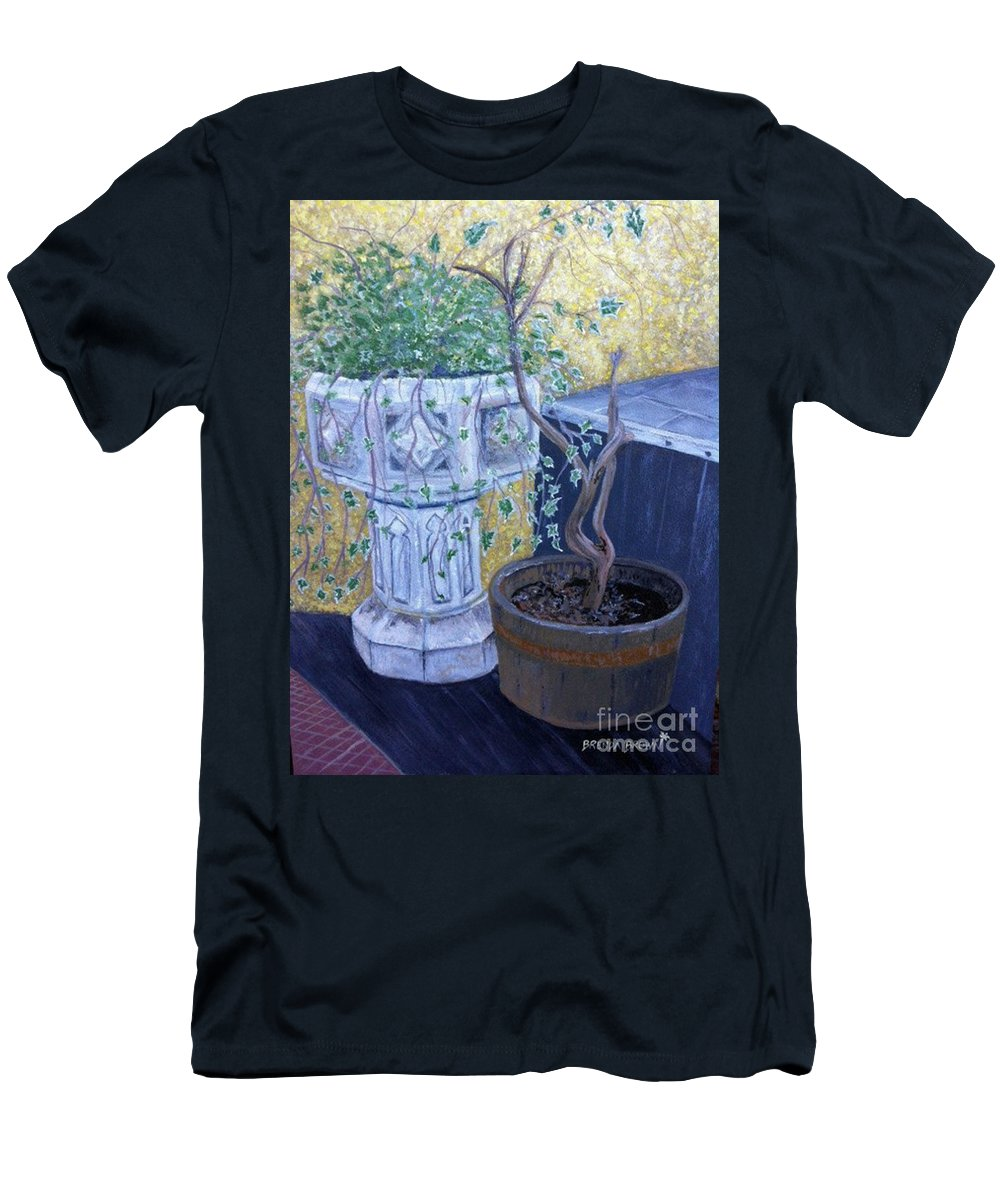 Landscape Men's T-Shirt (Athletic Fit) featuring the painting Sean's Planter by Brenda Brown
