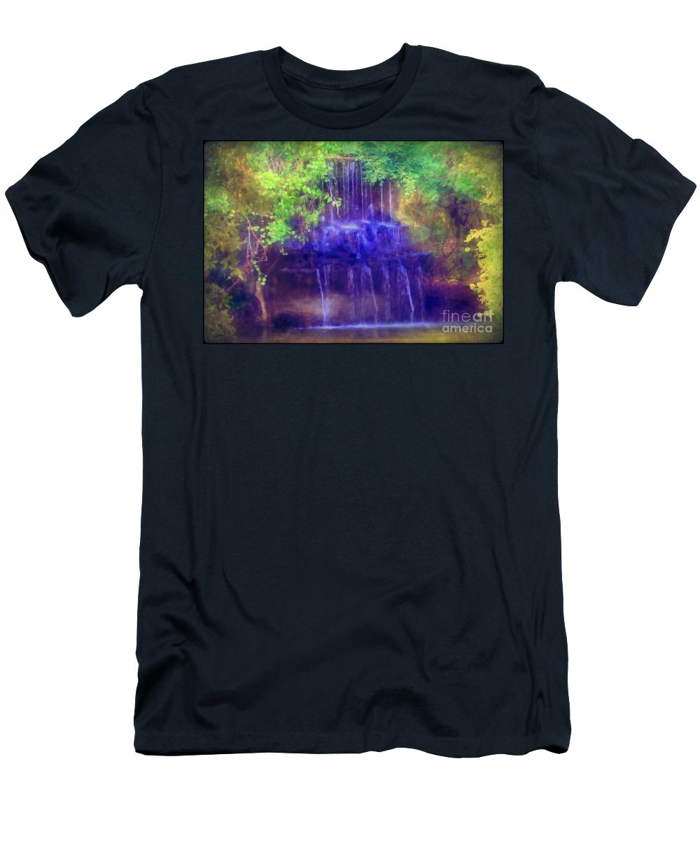 Water Men's T-Shirt (Athletic Fit) featuring the photograph Secret Waterfall by Judi Bagwell