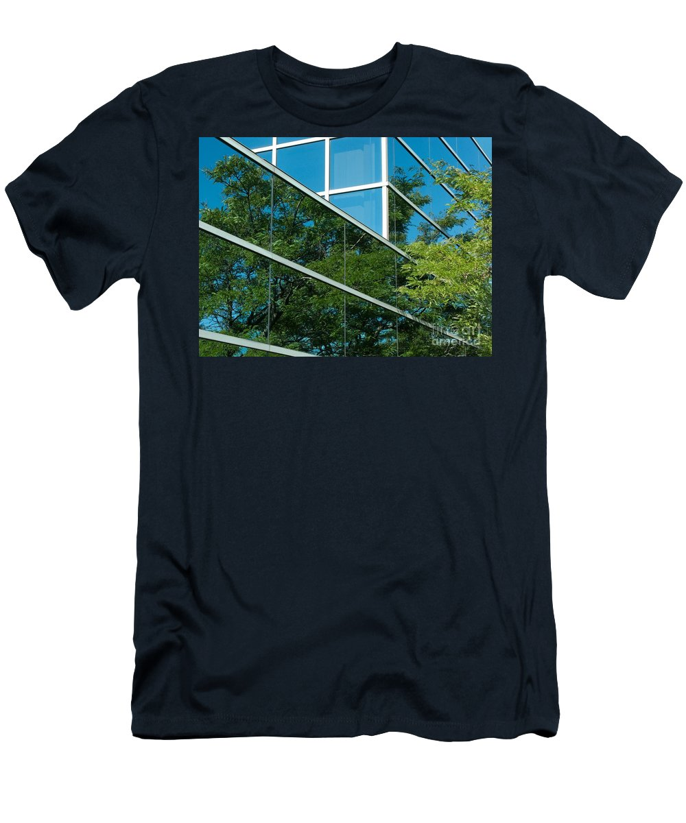 Trees Men's T-Shirt (Athletic Fit) featuring the photograph Seeing Double by Ann Horn