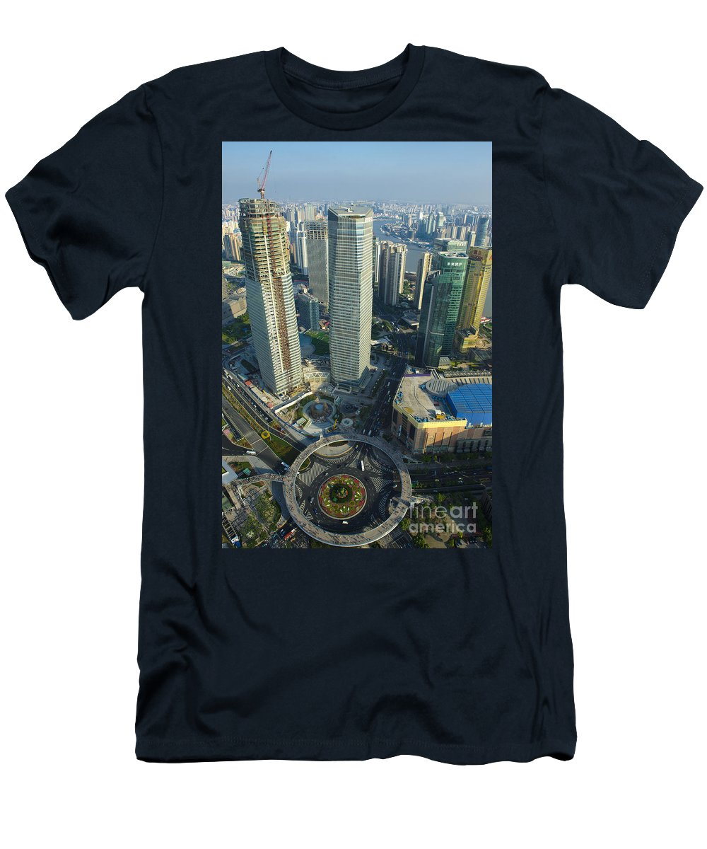 Asia Men's T-Shirt (Athletic Fit) featuring the photograph Shanghai From Above by John Shaw