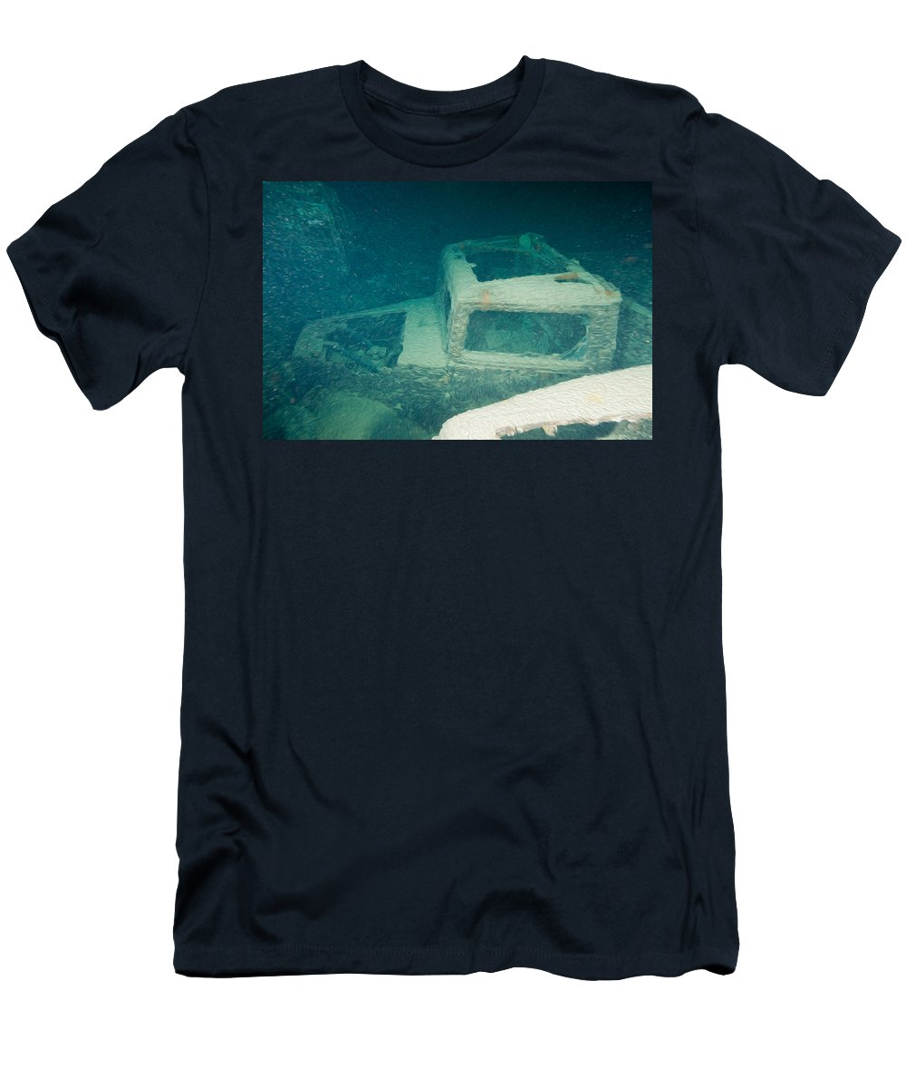 Thistlegorm Men's T-Shirt (Athletic Fit) featuring the digital art Ship Wreck With Trucks by Roy Pedersen