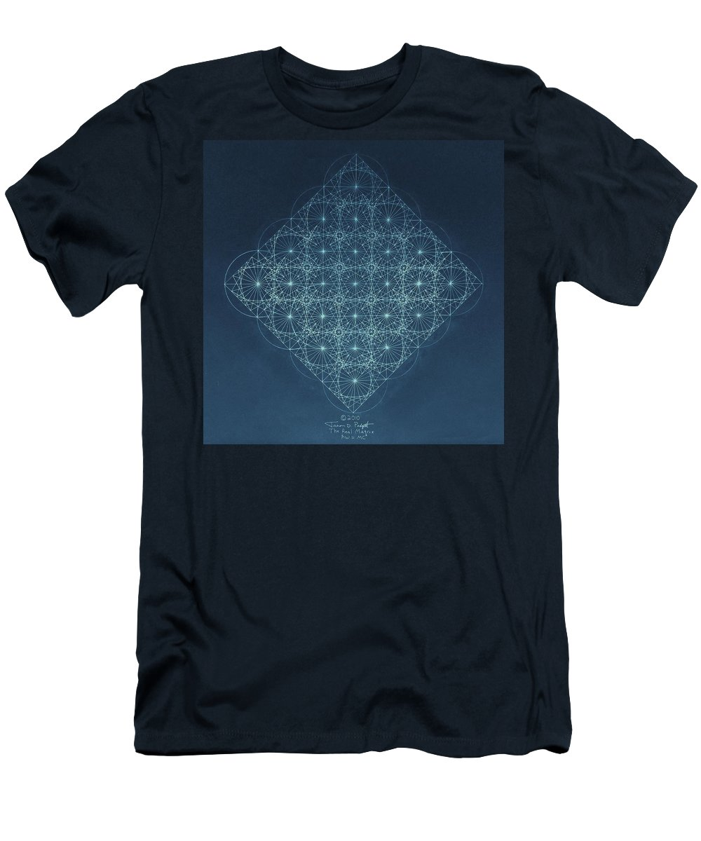Fractal Men's T-Shirt (Athletic Fit) featuring the drawing Sine Cosine And Tangent Waves by Jason Padgett
