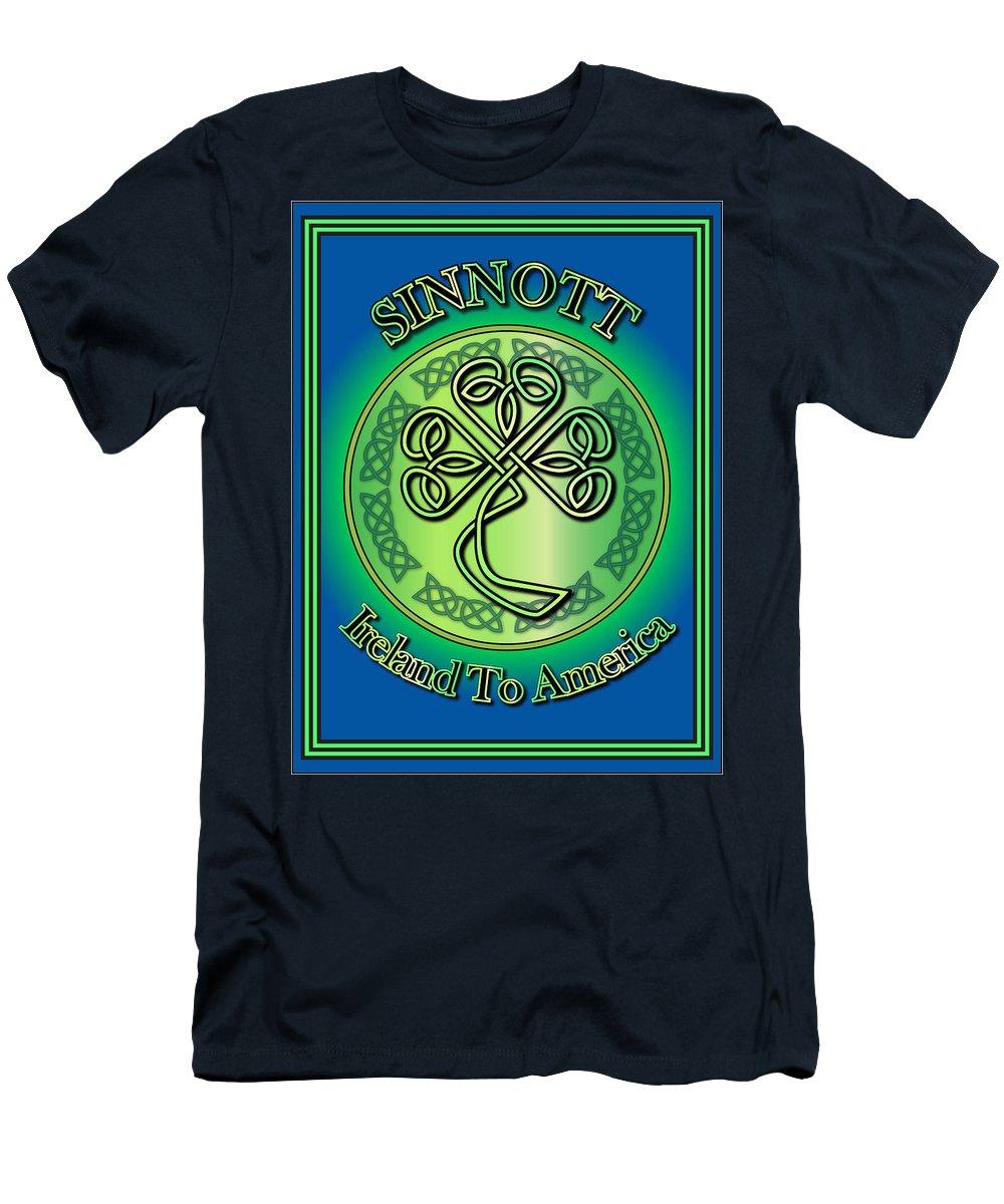 Sinnott Men's T-Shirt (Athletic Fit) featuring the digital art Sinnott Ireland To America by Ireland Calling