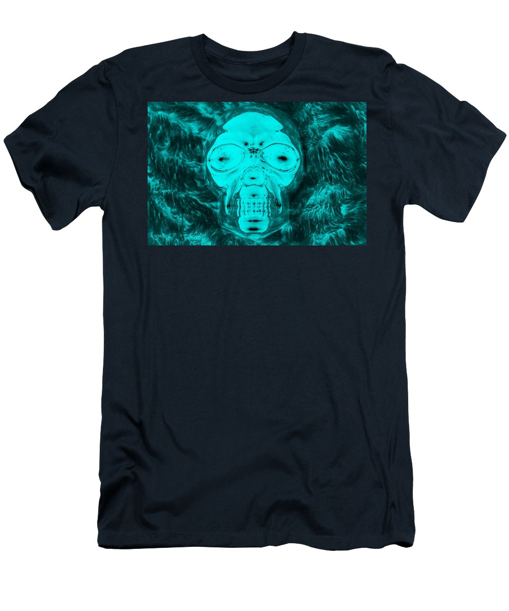 Skull Men's T-Shirt (Athletic Fit) featuring the photograph Skull In Negative Turquois by Rob Hans