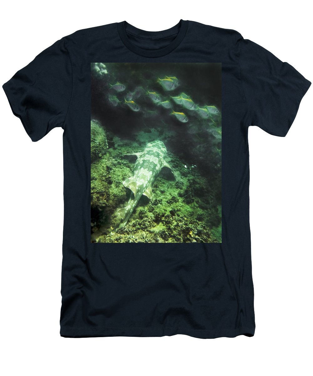 Fish Men's T-Shirt (Athletic Fit) featuring the photograph Sleeping Wobbegong And School Of Fish by Miroslava Jurcik