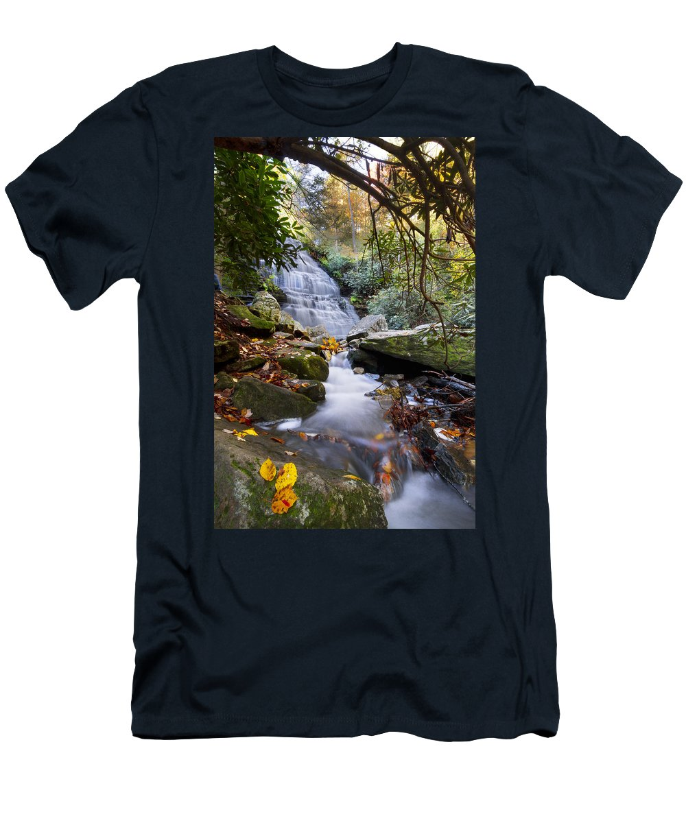 Appalachia Men's T-Shirt (Athletic Fit) featuring the photograph Smoky Mountain Waterfall by Debra and Dave Vanderlaan