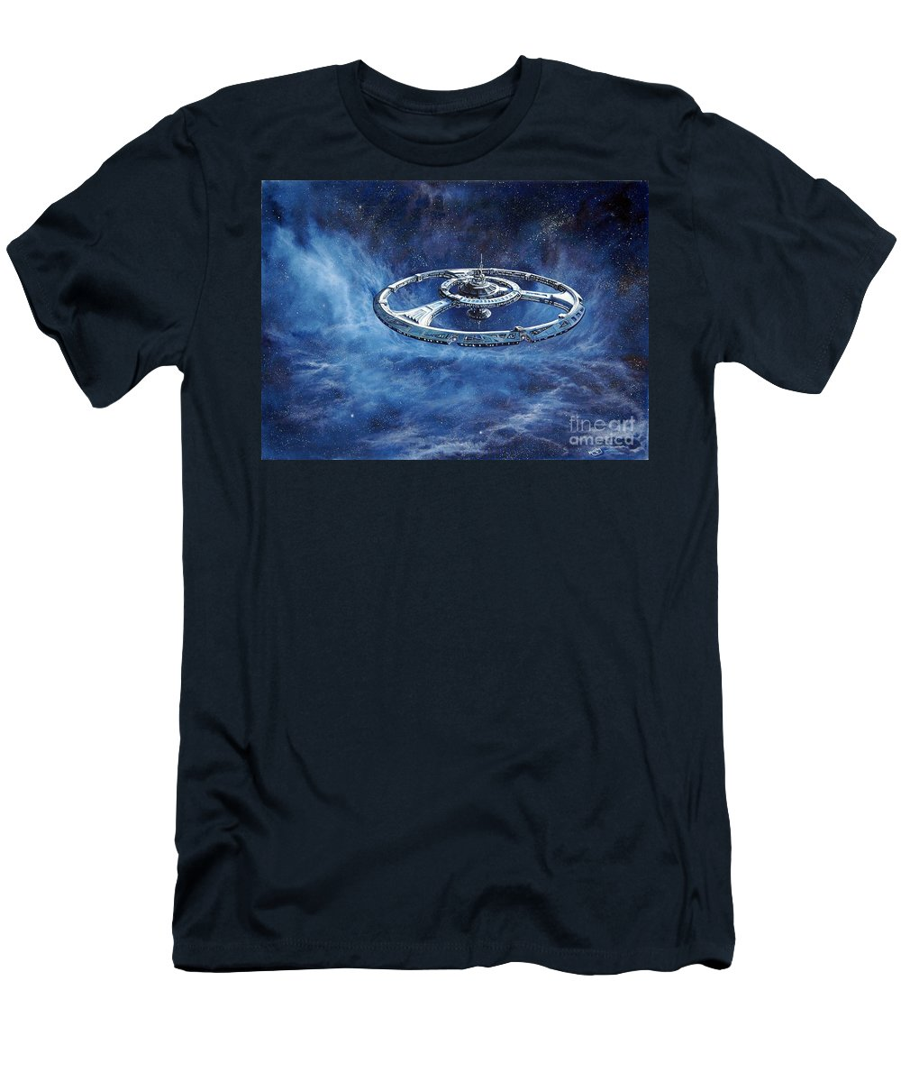 Sci-fi Men's T-Shirt (Athletic Fit) featuring the painting Deep Space Eight Station Of The Future by Murphy Elliott