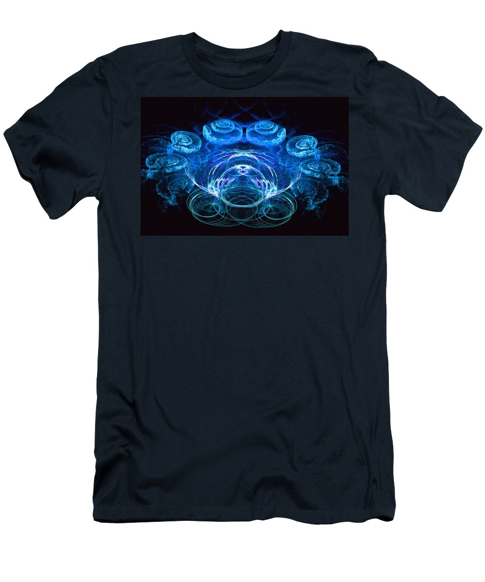 Fractal Art Men's T-Shirt (Athletic Fit) featuring the digital art Spiral Percussion by David Lazarus