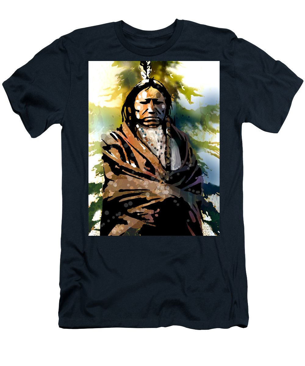 Native American Men's T-Shirt (Athletic Fit) featuring the painting Spotted Tail by Paul Sachtleben