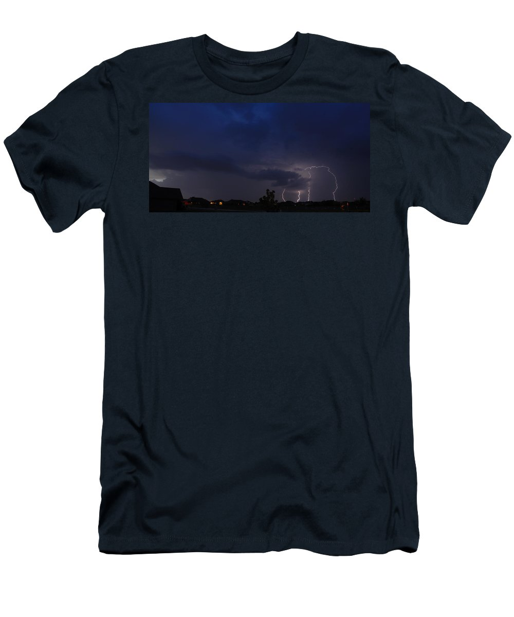 Lighteng Men's T-Shirt (Athletic Fit) featuring the photograph Spring Storm by Charles Beeler