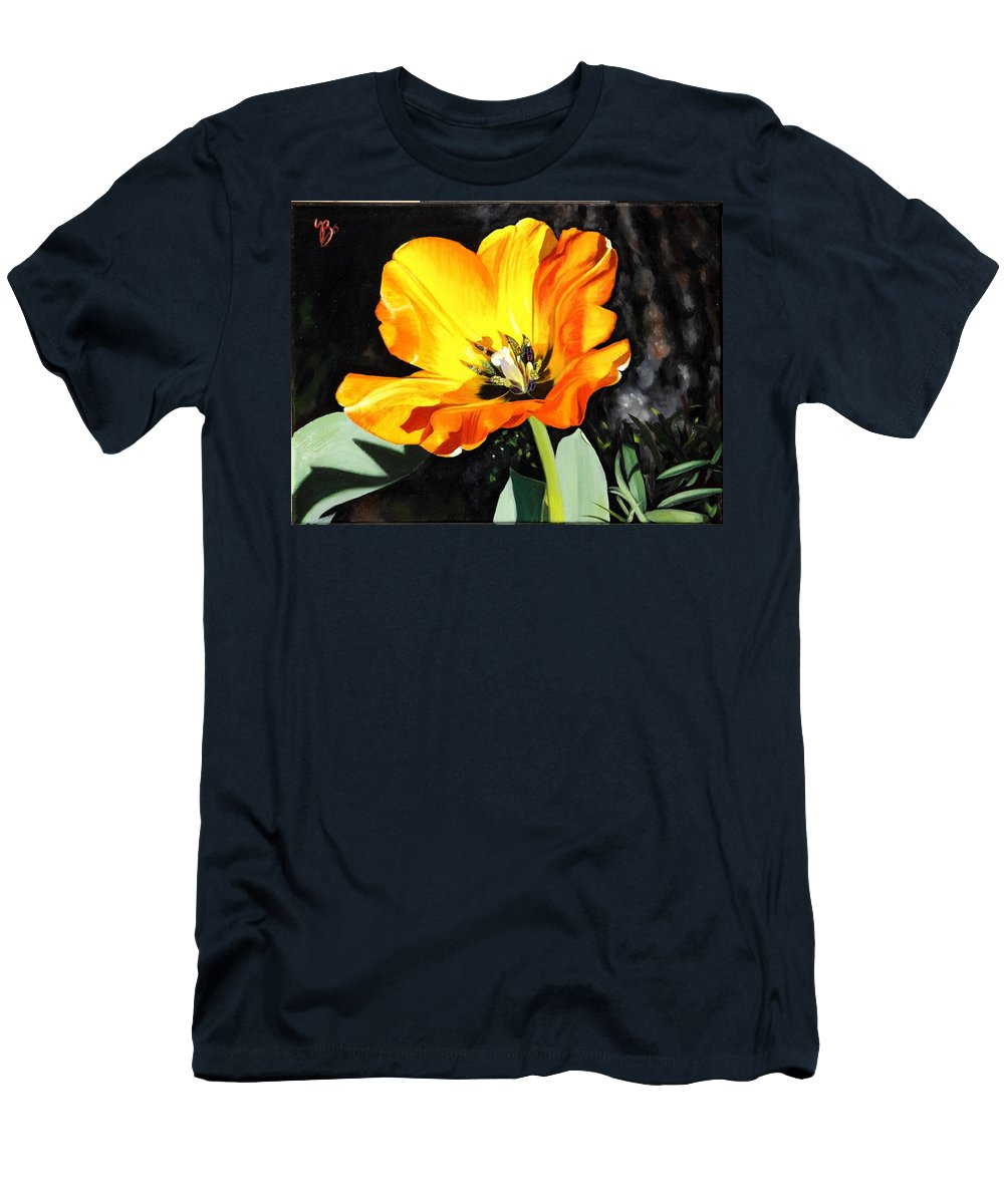 Yellow Men's T-Shirt (Athletic Fit) featuring the painting Spring Tulip by Glenn Beasley