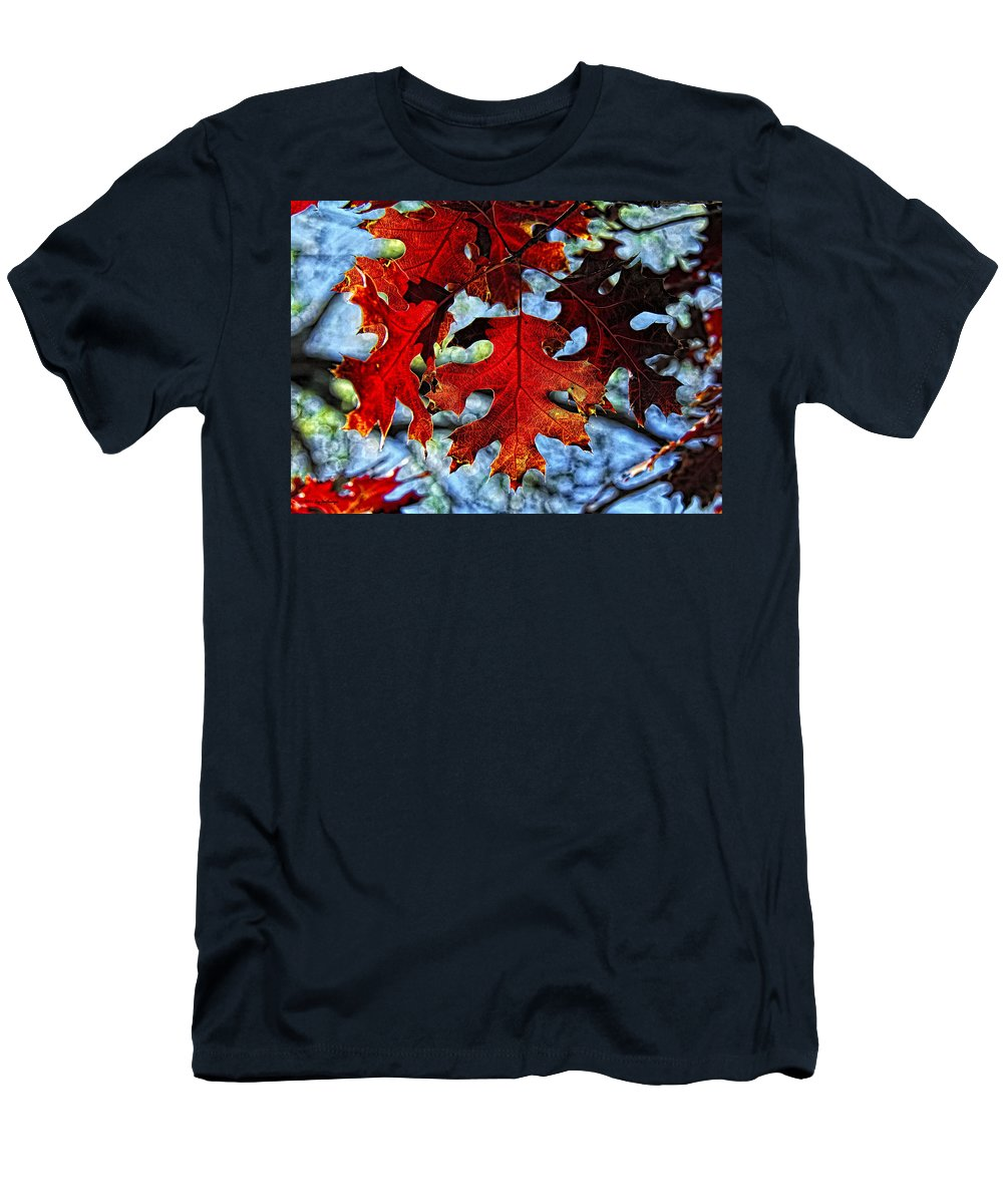 Fall Colors Canvas Print Men's T-Shirt (Athletic Fit) featuring the photograph Stained Glass by Lucy VanSwearingen