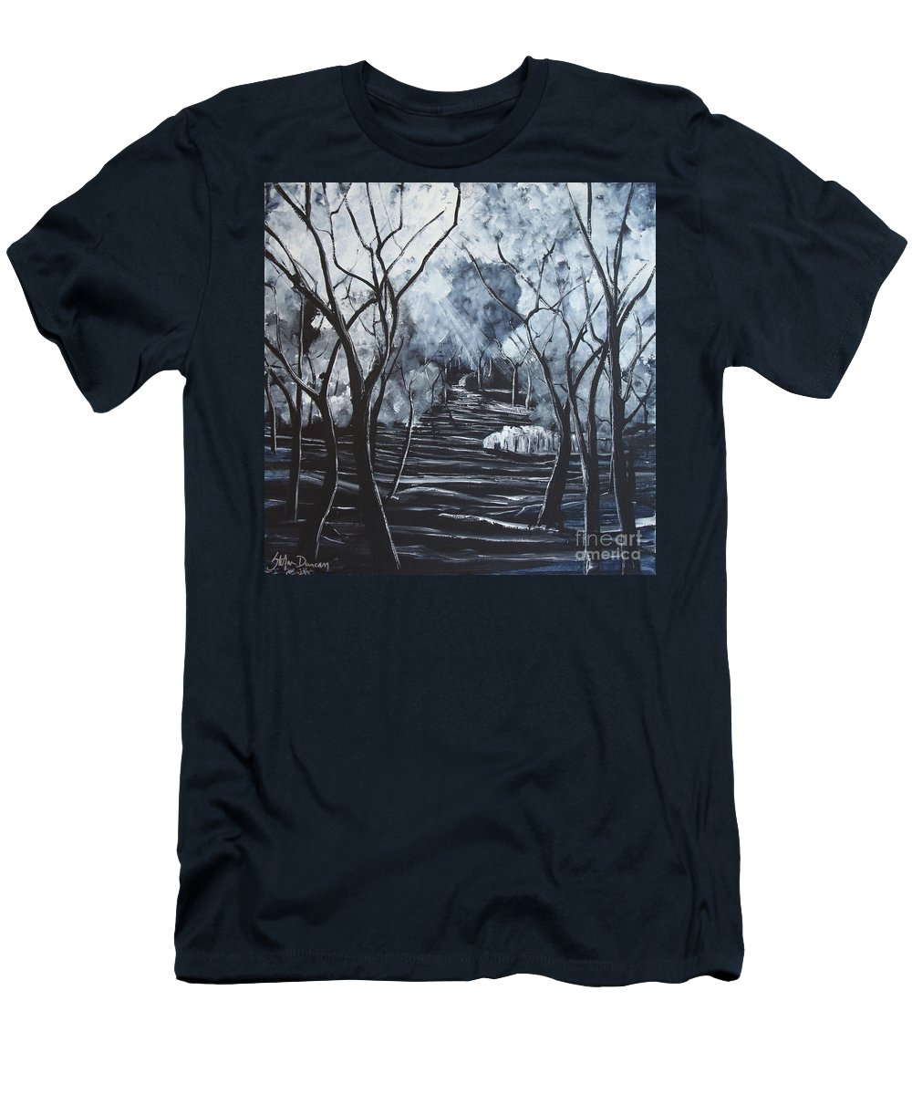 Landscape Men's T-Shirt (Athletic Fit) featuring the painting Step Into The Woods by Stefan Duncan