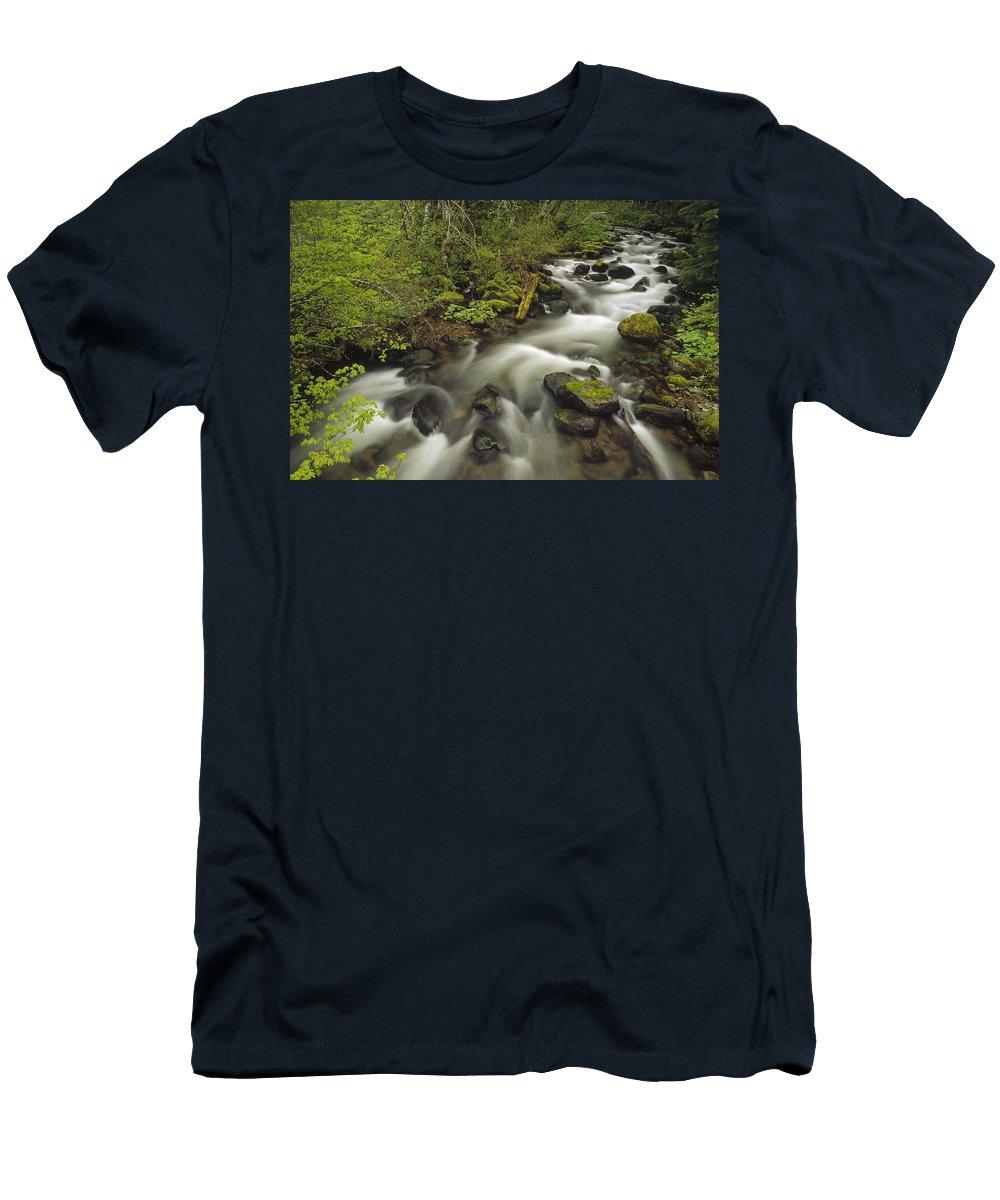 Feb0514 Men's T-Shirt (Athletic Fit) featuring the photograph Still Creek Mt Hoodoregon by Gerry Ellis