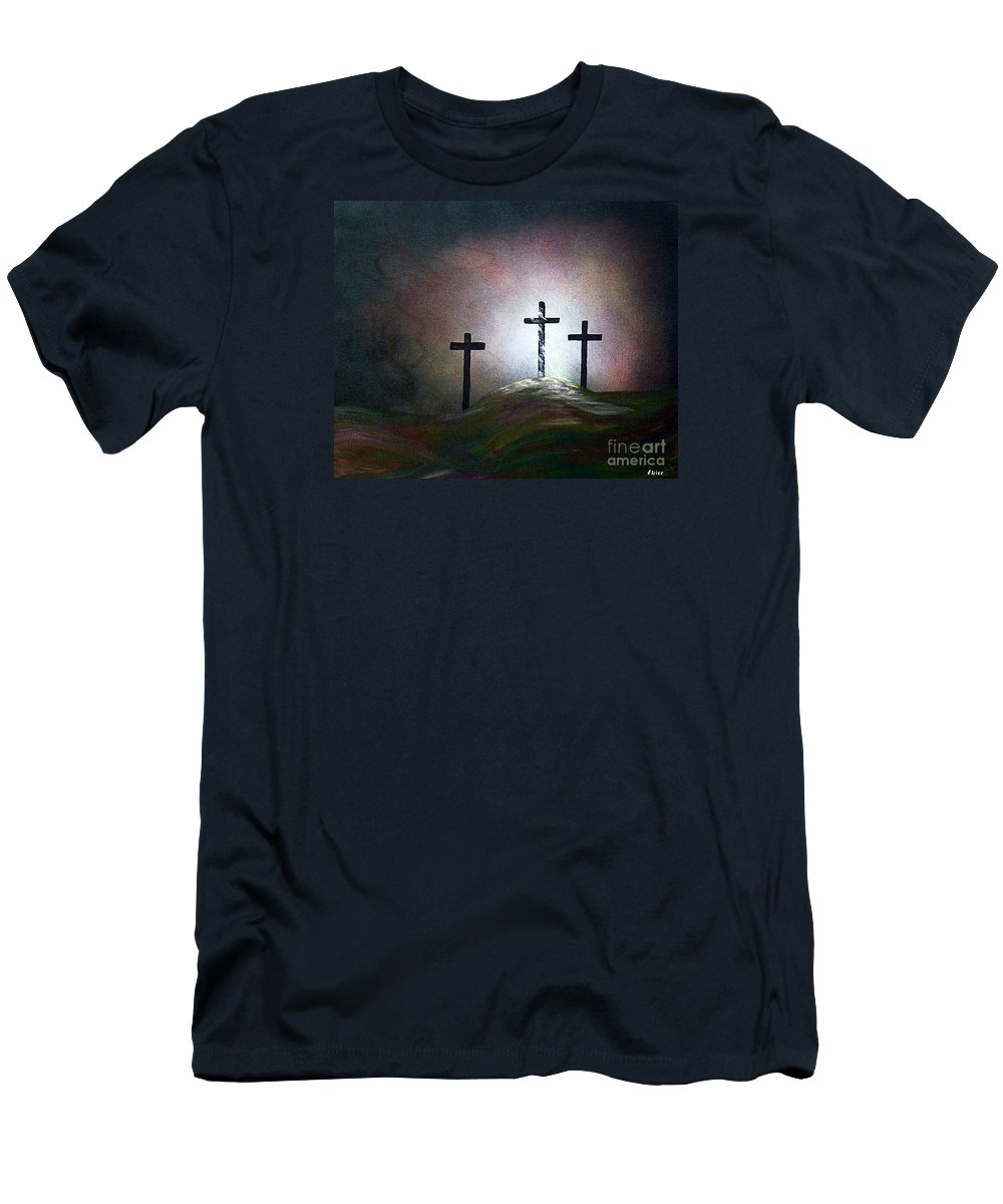 Jesus Men's T-Shirt (Athletic Fit) featuring the painting Still The Light by Eloise Schneider