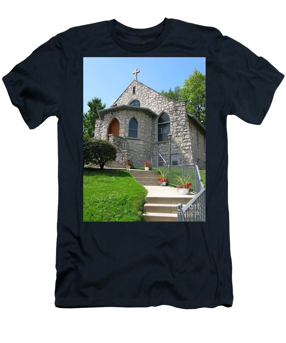 Cross Men's T-Shirt (Athletic Fit) featuring the photograph Stone Church by Ann Horn