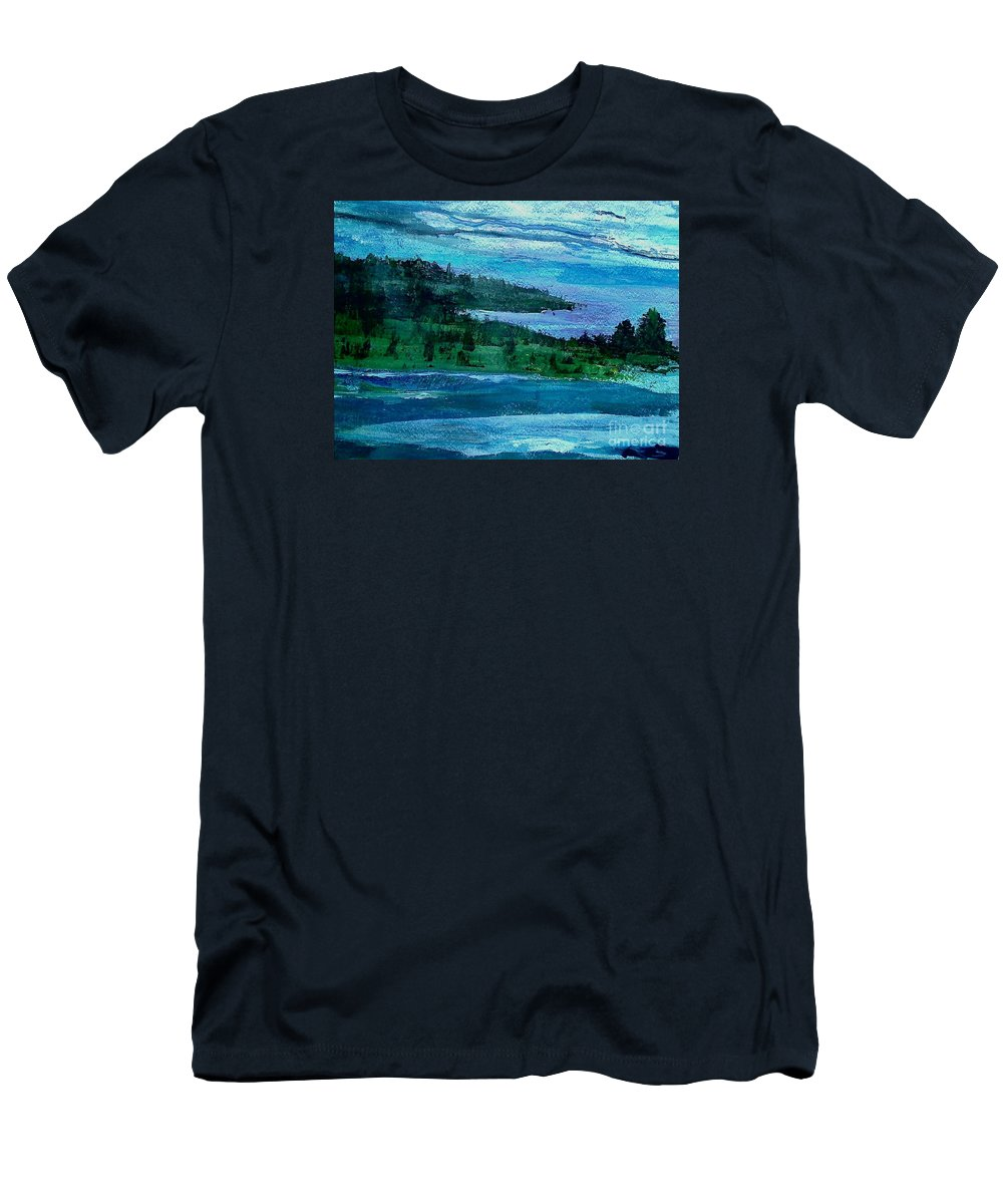 Blue Ocean Tinted By The Sky Rolls Up To A Field With Scattered Bushes & Trees Men's T-Shirt (Athletic Fit) featuring the painting Stonington Sideways by Mark Herman