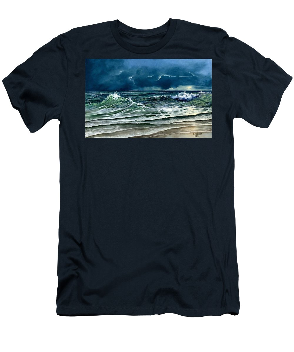 Landscape Men's T-Shirt (Athletic Fit) featuring the painting Storm Off Yucatan Mexico by Lynne Wright