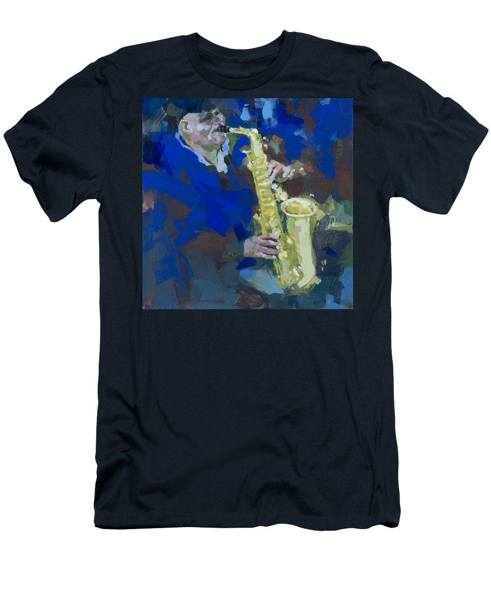 Street Jazzman Men's T-Shirt (Athletic Fit) featuring the painting Street Jazzman Near Park by Renata Domagalska