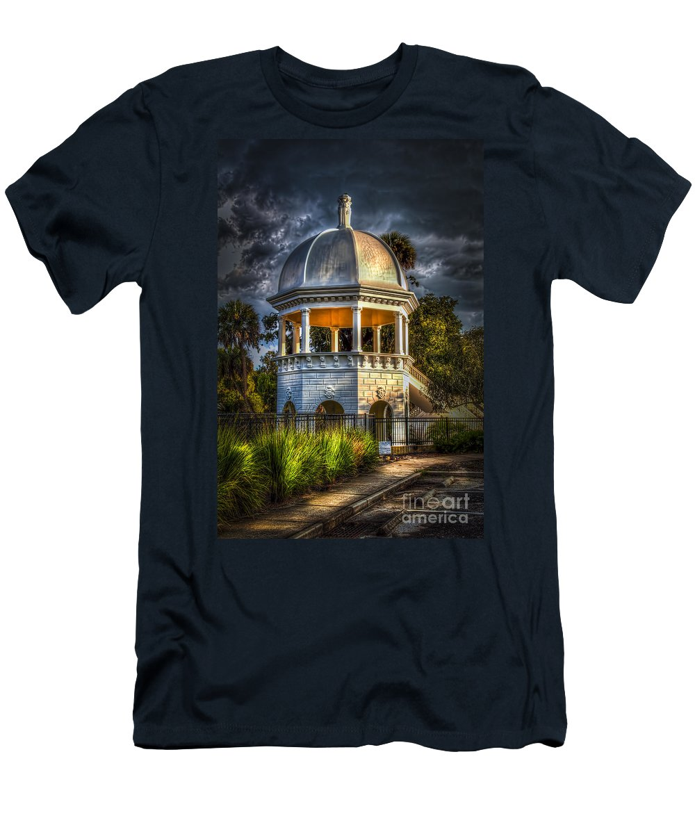 Gazebo In Sulfur Springs Men's T-Shirt (Athletic Fit) featuring the photograph Sulfur Springs Gazebo by Marvin Spates