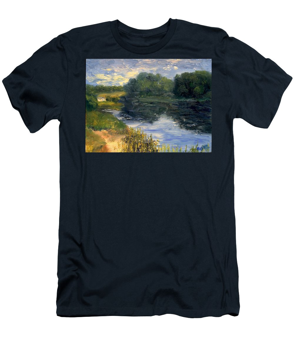 Landscape Men's T-Shirt (Athletic Fit) featuring the painting Summer At Jackson Lake by Gail Kirtz