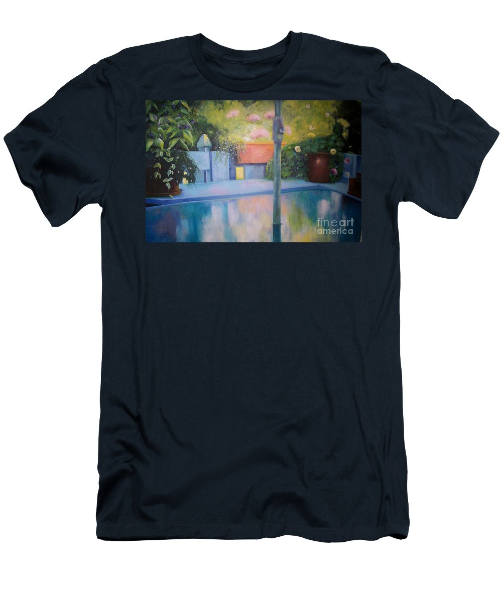Still Life Men's T-Shirt (Athletic Fit) featuring the painting Summer On The Deck by Marlene Book